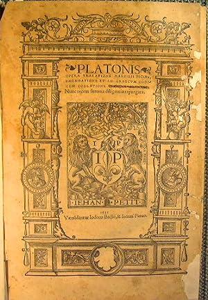 Platonis Opera tralatione Marsilii Ficini, emendatione et: Platone