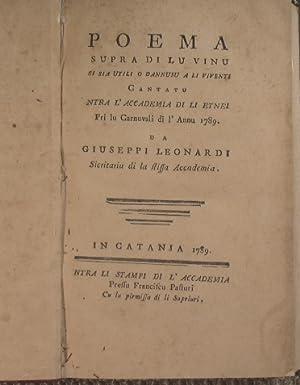 Poema supra di lu vinu si sia: Leonardi Giuseppi