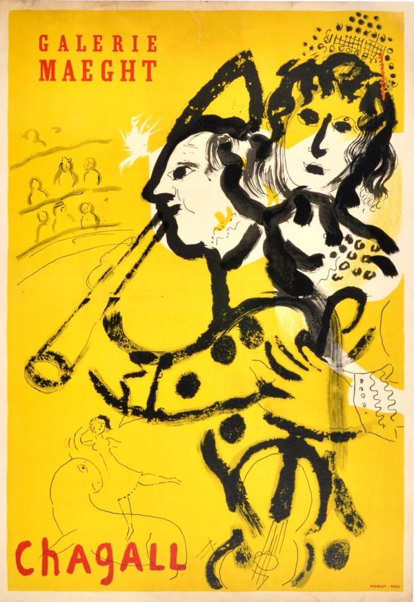 Advertising Poster Chagall Galerie Maeght The Clown: Marc Chagall