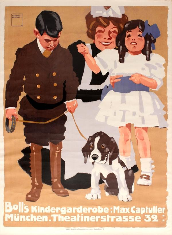 Advertising Poster Bolls Children Clothing Ludwig Hohlwein Ludwig Hohlwein Original antique advertising poster for Boll's children's clothes Munich  Boll's Kindergarderobe: Max Captuller Munchen. Theatinerstrasse 32  by the n
