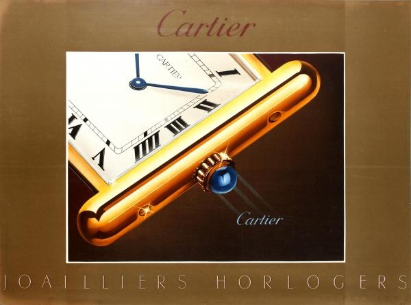 Advertising Poster Cartier Watch Luxury Jeweller Watchmaker Original vintage advertising poster for the French luxury goods company Cartier founded in Paris in 1847: Cartier Jewellers and Watchmakers Since 1847