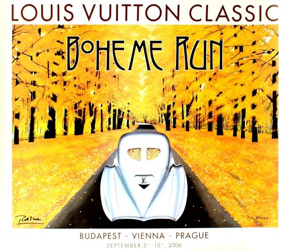 Advertising Poster Louis Vuitton Classic Boheme Run Tatra Razzia Razzia Original Art Deco style event advertising poster for the 2006 Louis Vuitton Classic Boheme Run featuring a colourful design by the contemporary poster