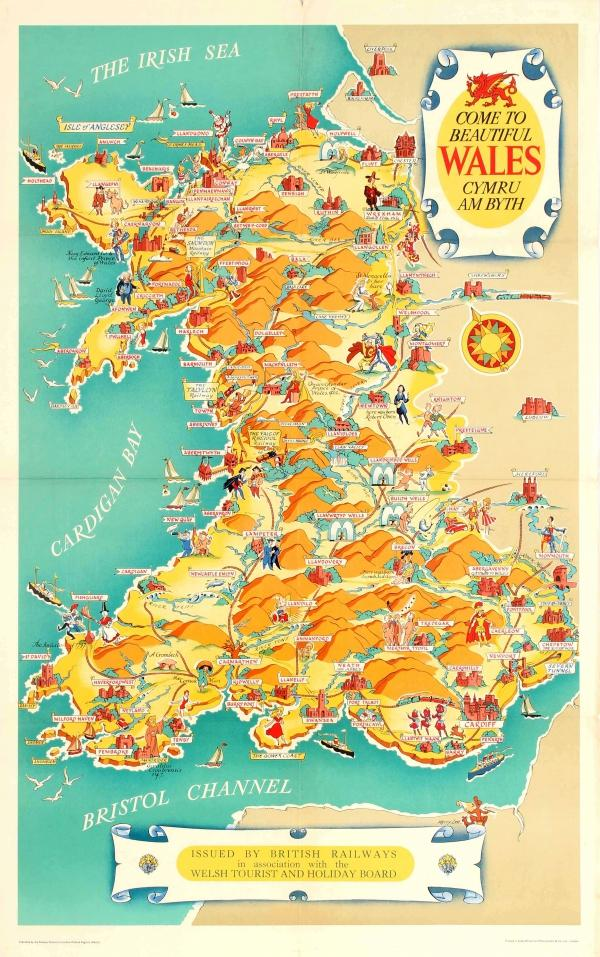 Wales Great Britain United Kingdom Welsh Vintage Railroad Travel Poster Print