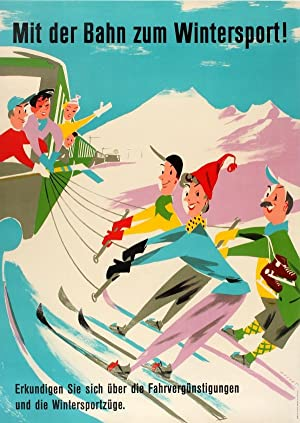 Ski Poster Skiing Switzerland Railway: Gusset