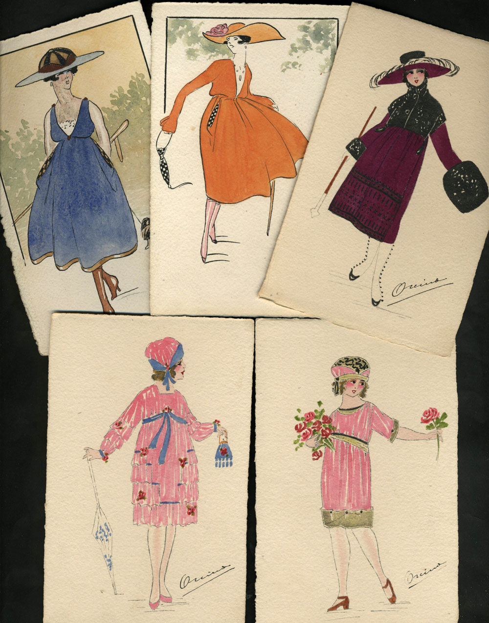 Art Deco hand-painted French Fashion postcards [Postcards] Very Good Softcover