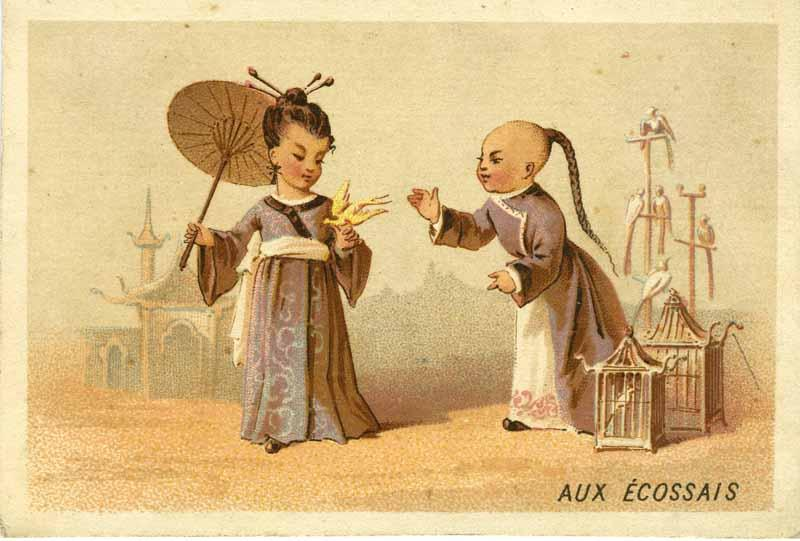 Aux Ecossais [China] Aux Ecossais H. Bouts clothing trade card French clothing company trading card with an illustration of two Chinese children playing with birds; with the title in French  Aux Ecossais  (With th