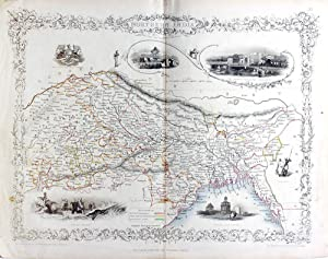 Northern India, antique map with vignette views