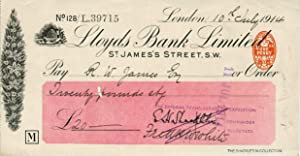 Autograph check from Shackleton fom his Imperial Trans-Antarctic Expedition, signed by Shackleton