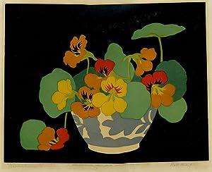 Nasturtiums (woodcut): Thorpe, John Hall (Australian 1874-1947)