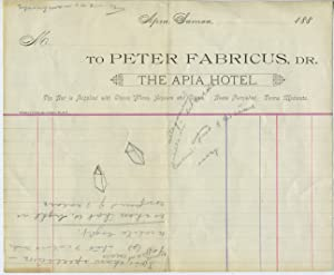The Apia Hotel Letterhead, Samoa, ca.1880s
