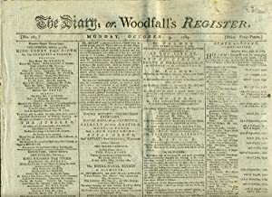 Advertisement for Theatre Royal, Covent Garden, The Death of Captain Cook. The Diary; or, Woodfal...