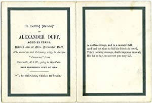 """Sailor's In Memoriam Card for the wreck of the """"Lamorna"""" out of Newcastle NSW: Duff, ..."""