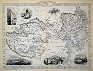 Thibet, Mongolia, and Mandchouria, antique map with vignette views: Rapkin, J. Tallis, John