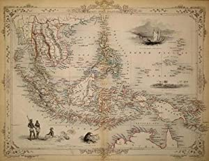 Malay Archipelago, or East India Islands, antique map with vignette views