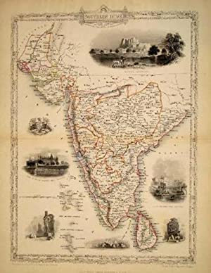 Southern India, antique map with vignette views