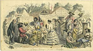 Topsy-Turvey or our Antipodes, Australian gold mining camp color engraving: Leech, John
