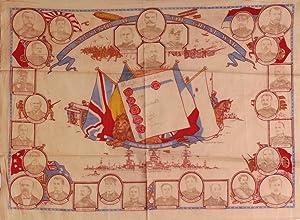 "A Souvenir of the Great War"" - Patriotic kerchief of the First World War: World War I; Souvenir..."