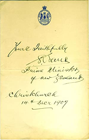 Autographed presentation on folded letter sheet, Sir Joseph Ward, New Zealand Prime Minister