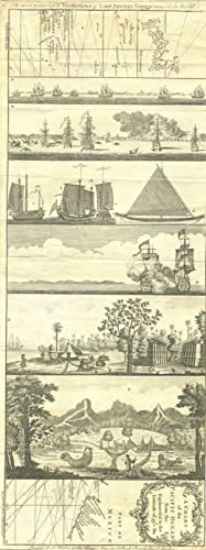 Anson's Voyage round the world, chart with 6 engraved views: A chart of the Pacific Ocean from th...