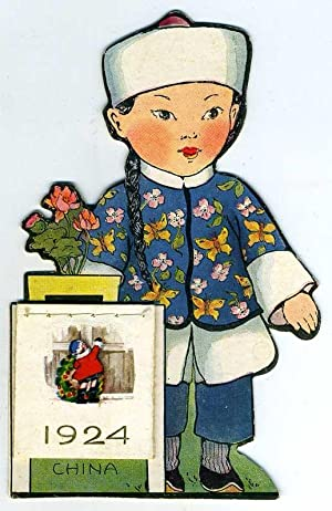Illustrated and die cut Whitney Made free standing 1924 calendar with little Chinese girl in ...
