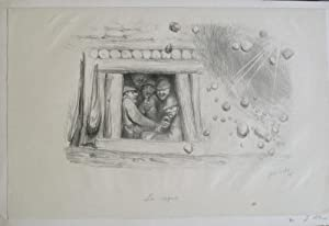 'La Cagna' (the dugout). World War I signed lithograph
