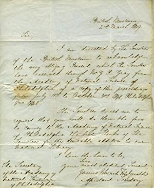 """Autograph letter signed """"James Edward FitzGerald"""" as Assistant Secretary of the British ..."""