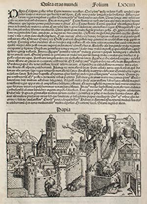 Pavia, Italy in the Liber chronicarum- Nuremberg: Schedel, Hartmann; Wolgemuth,