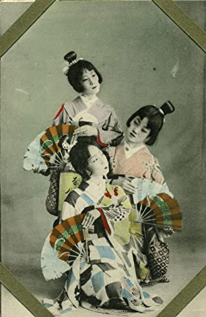 24 Unused Hand Colored Postcards, young apprentice Japanese Geisha & Japanese Views of Kobe, Yoko...
