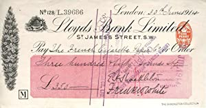 Autographed check from Shackleton fom his Imperial Trans-Antarctic Expedition, signed by Shackleton