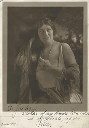 Alma Gluck signed portrait inscribed to Jascha [Heifetz] 1919