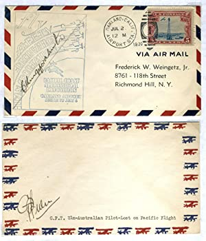 First Aviators to Cross Pacific: Kingsford Smith signed cover [with] CPT Ulm signed cover