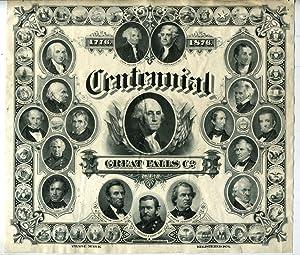 Bank Note Engraving: Centennial, Great Falls Co. 1776-1876 Trade Mark