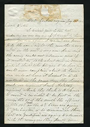Civil War Letter, describing soldier's situation with the 14th Mass