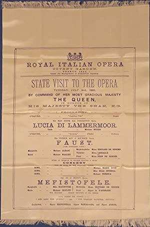 "Silk programme ""Royal Italian Opera, Covent Garden, State Visit To The Opera, Tuesday, July 2nd..."