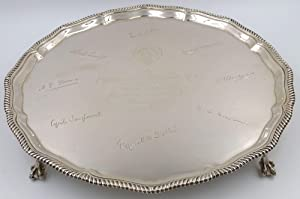 A sterling silver salver signed in facsimile by eight participants of the British National Antarc...