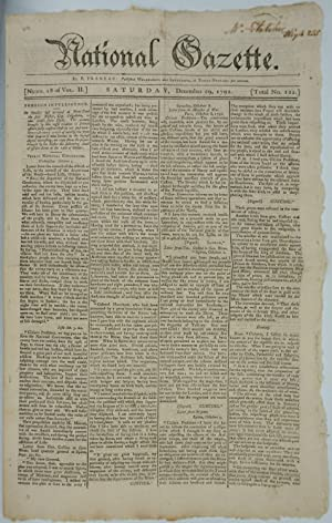 Accounts of French Revolution in National Gazette. Newspaper