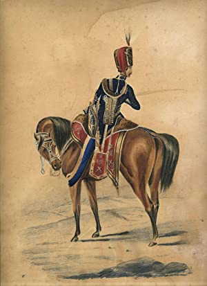 Original art work: Officer of the 10th Prince of Wales's Own Hussars outside Sevastopol