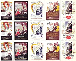 Full sheet of 15 poster stamps promoting the New South Wales Railways