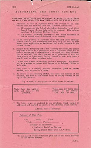 Australian Red Cross Society circular entitled: Interim Directions for Sending Letters to Prisone...