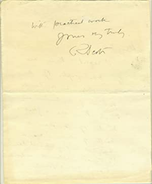 Autograph letter from Scott, written in the Antarctic, possibly one of his last autographs