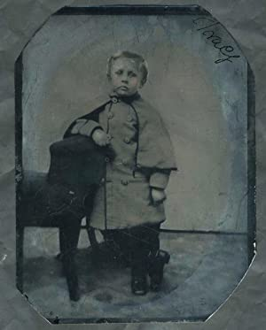 Civil War Tintype: Young boy in Confederate Great coat