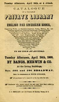 Catalogue of a Valuable Private Library of English and American Books. including Robert's Holy La...