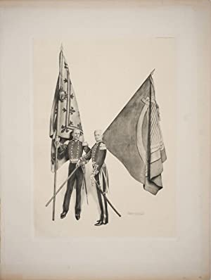 Military men with Irish and French flags. Lithograph