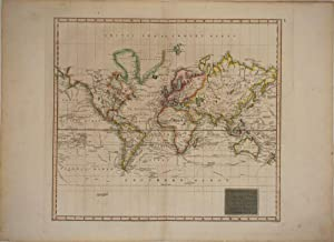 Hydrographical Chart of the World on Wright or Mercators Projection with Tracks of the Last Circu...