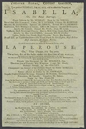 'La Perouse; Or, the Desolate Island'. Theatre Royal, Covent Garden, February 23, 1813. Playbill