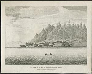 A View in the Bay at Woahoo, Sandwich Islands. Copper engraving