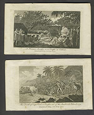 Death of Capt. Cook & Otaheite view. Copper engravings