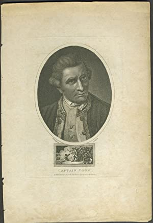 Captain Cook. Stipple engraved portrait with Death of Cook vignette