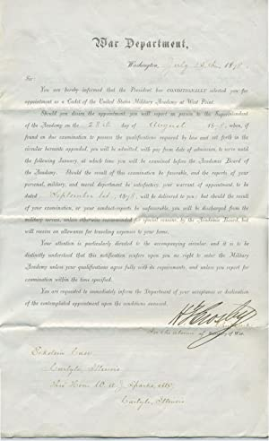 Offer to become a Cadet to West Point for Eckstein Case (1858-1944) of Carlyle, Illinois