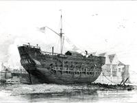 The Discovery, Convict-Ship (lying at Deptford), etching